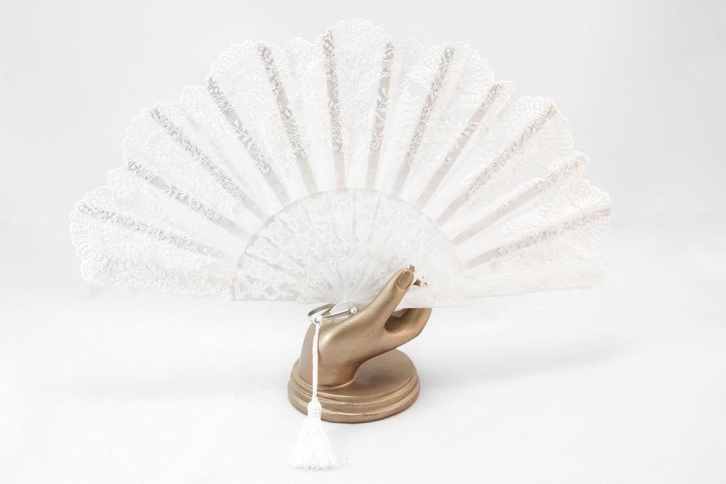 St Moritz - Exquisite white finest lace handmade luxury bridal fan