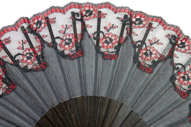 Verona - Elegant hand made luxury ebony hand fan with hand painted guard trim