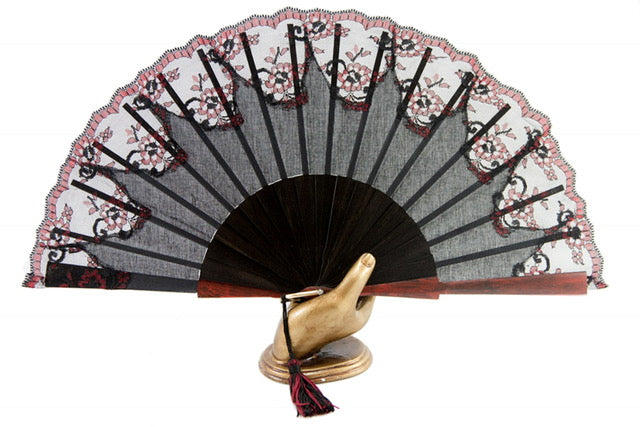 Verona - Elegant hand made luxury ebony hand fan with hand painted guard