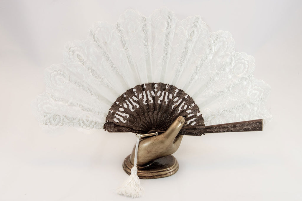 Versailles - Elegant handmade fine lace fan with hand sewn sequin trim