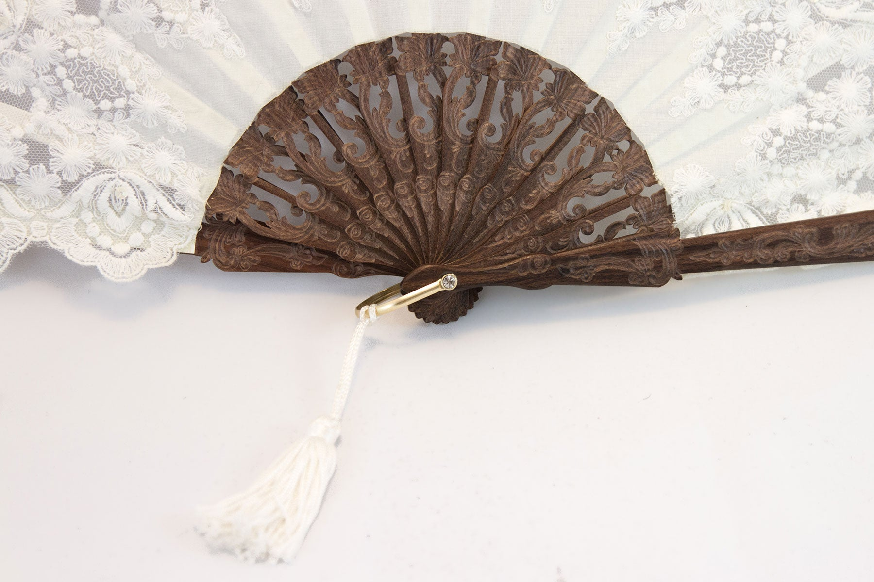 Versailles - Elegant handmade fine lace fan with hand sewn sequin trim detail