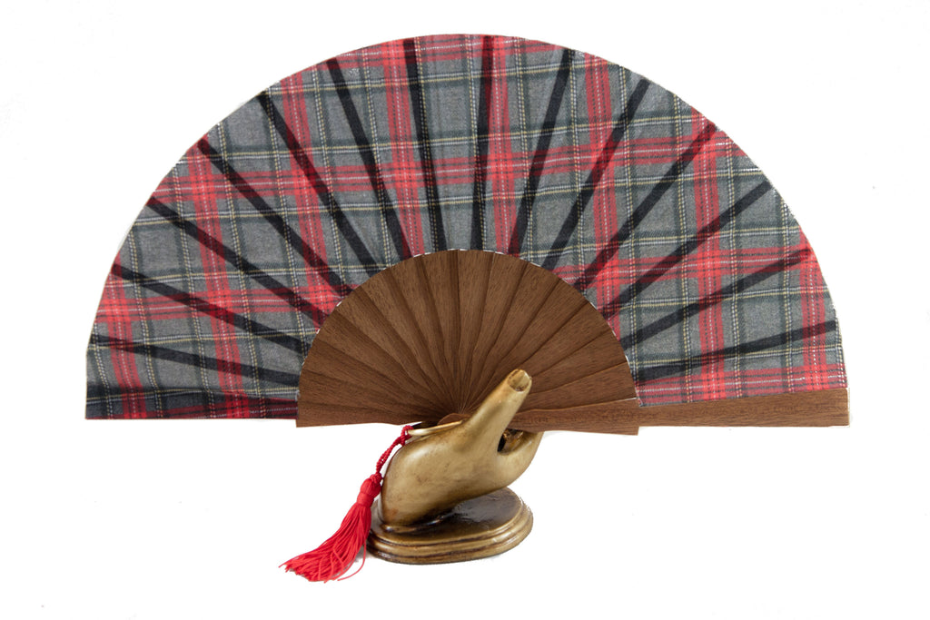 Handmade hand fan red tartan