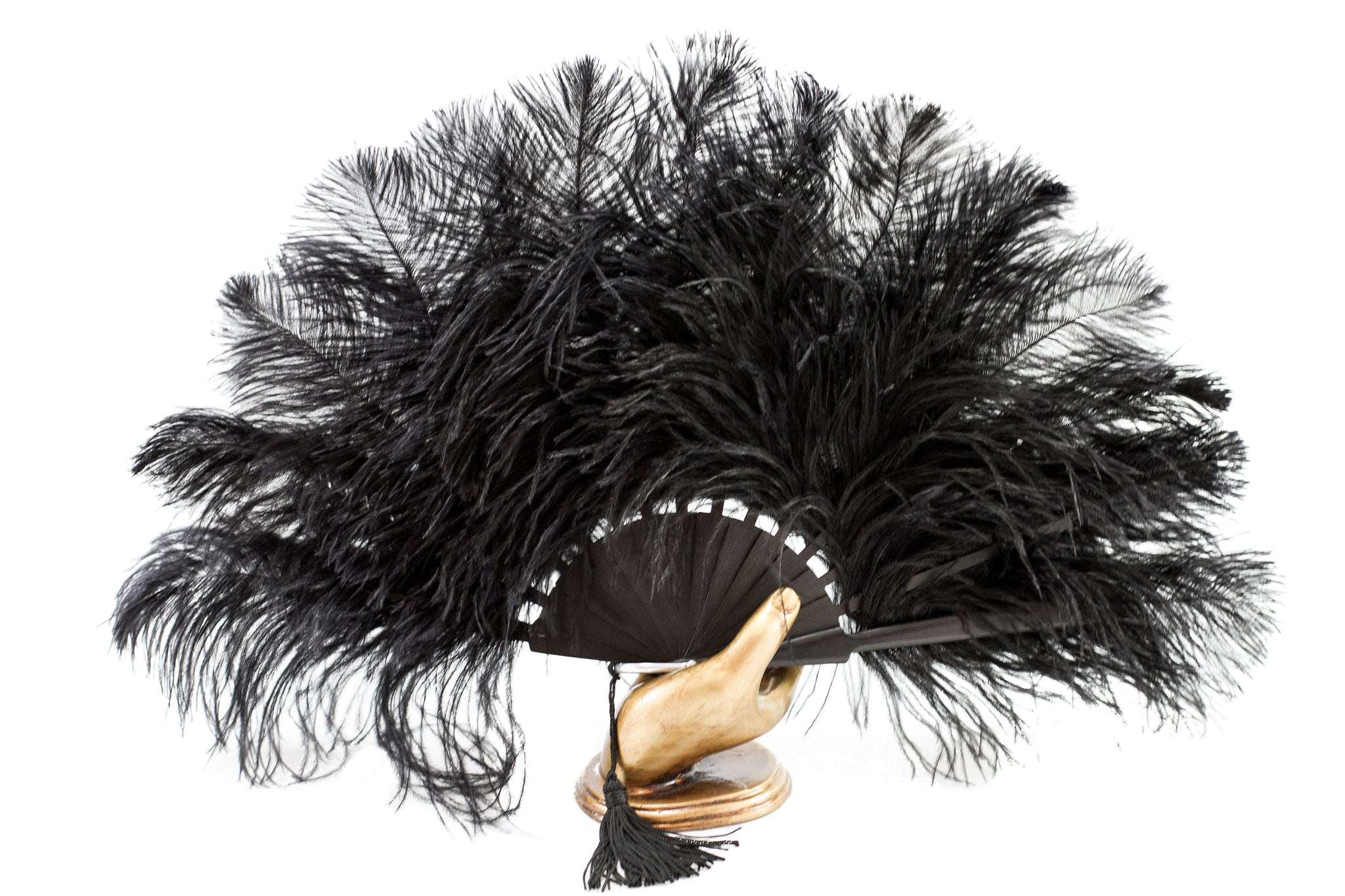 Cannes Black Elegant handmade black ostrich feather luxury hand fan
