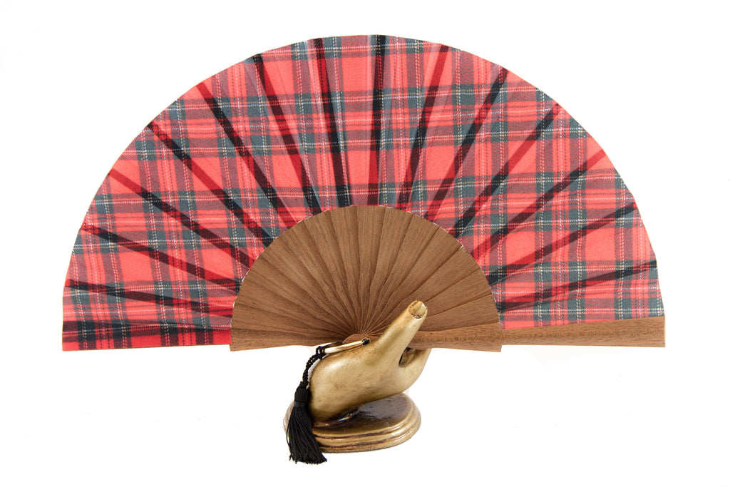 On trend Edinburgh red tartan silk/polyester handmade fan