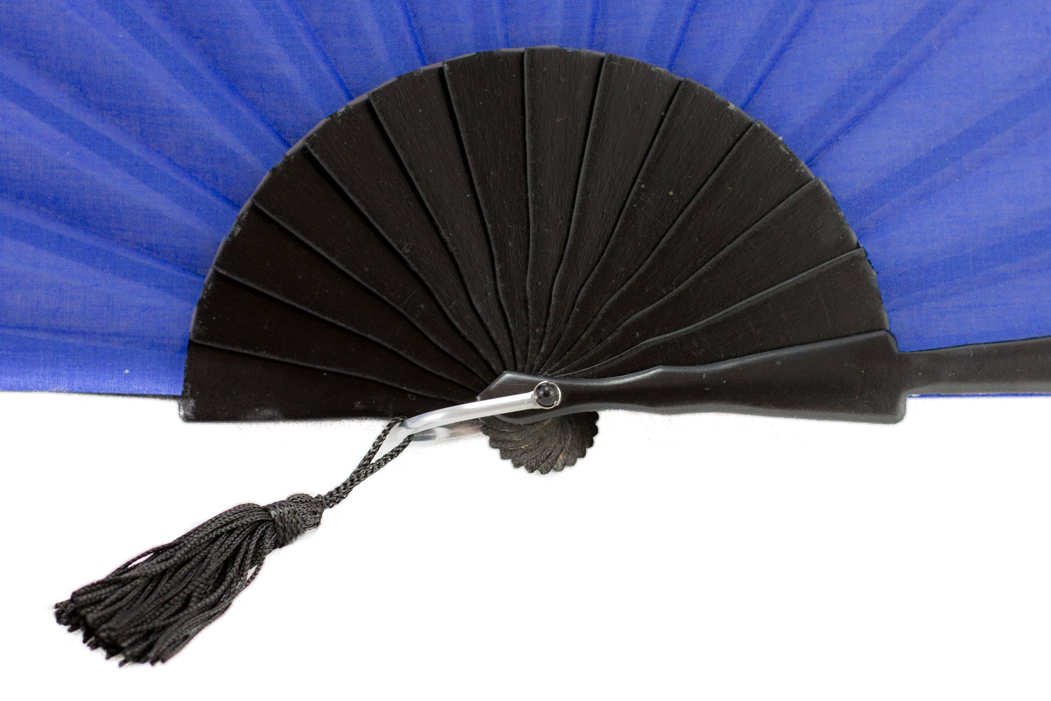 Glastonbury festival Blue hand fan detail