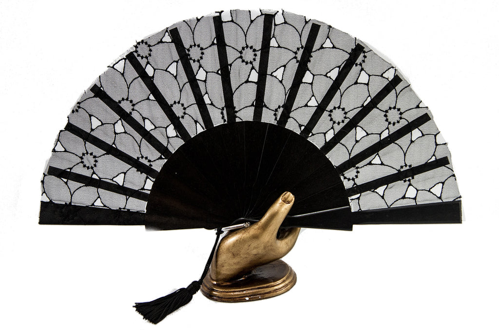 Limoges - Sophisticated Black Organza hand fan