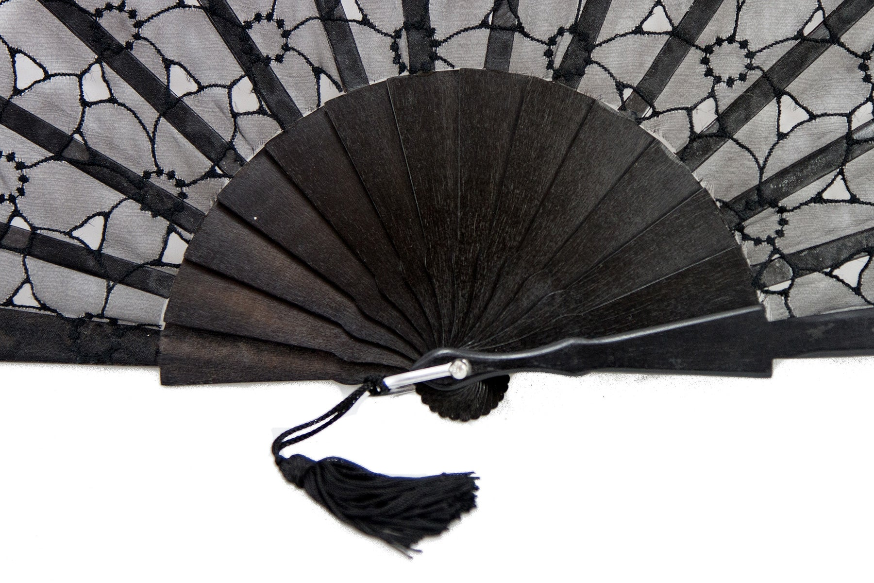 Limoges - Sophisticated Black Organza hand fan detail