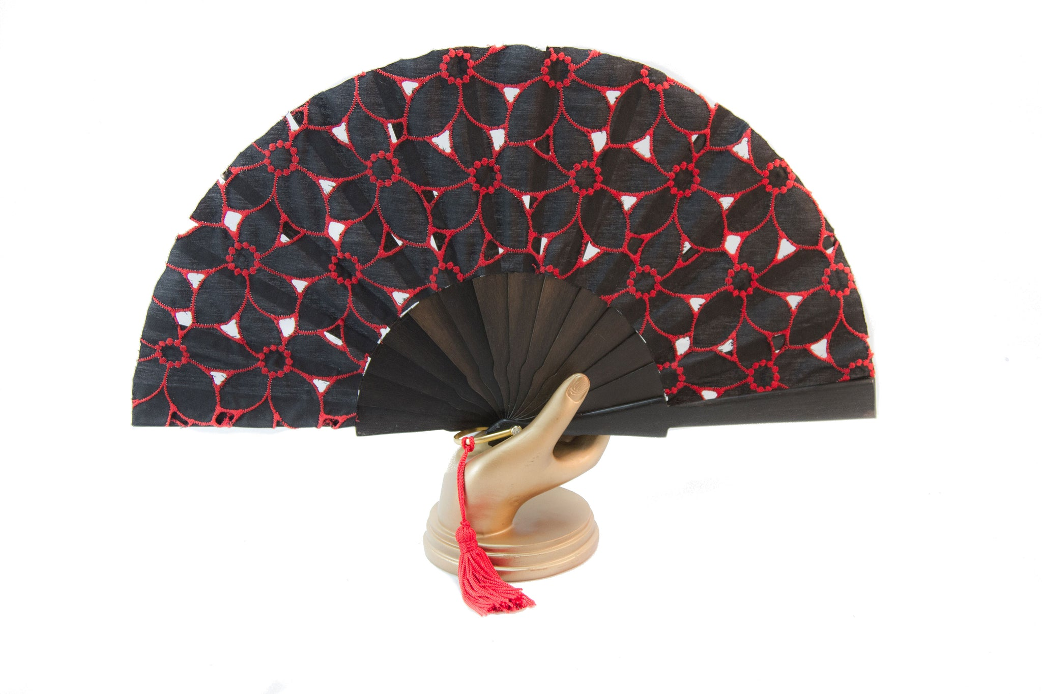 Limoges - Beautiful handmade red and black cotton open work fan