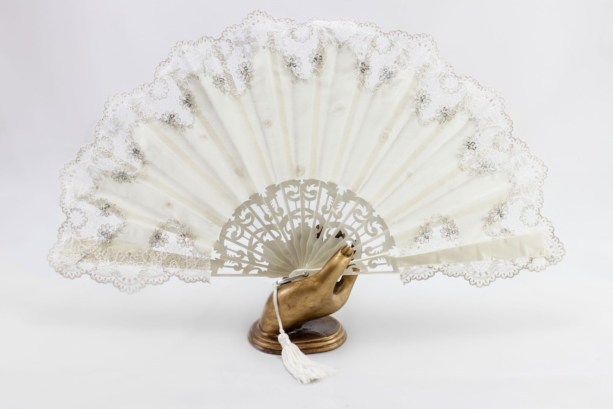 Savannah - Exquisite cream and silver luxury hand fan