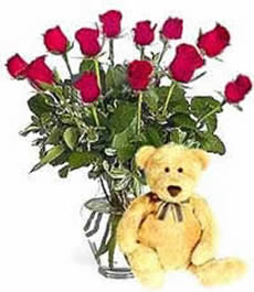 Cuddly Blooms - Dozen Roses with a Teddy
