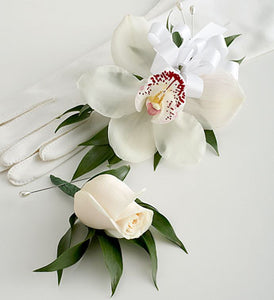 Orchid Wristlet and Rose Boutonniere