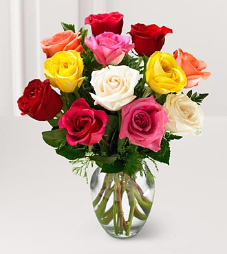 12 Mixed Color Rose Bouquet