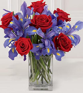 Spring Iris & Red Rose Bouquet with Vase