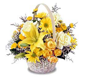 Garden Basket of yellow and white blooms