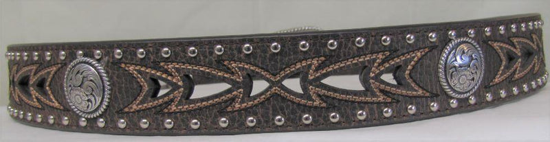 Men's Cutout and Concho Leather Belt