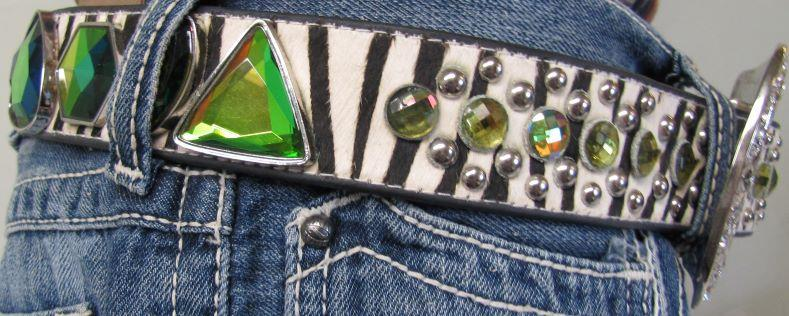 Zebra Print Belt with Multi Coloured Stones and Horse Hair