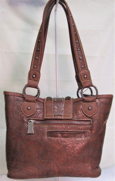 Trinity Ranch Cross Stitch Handbag - Brown