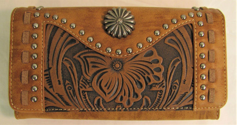 Trinity Ranch Tooled and Studded Wallet