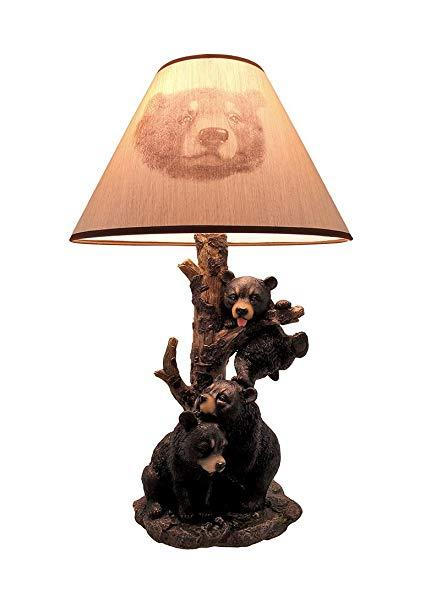 Black Bear Family Table Lamp with Tree Bark Printed Shade