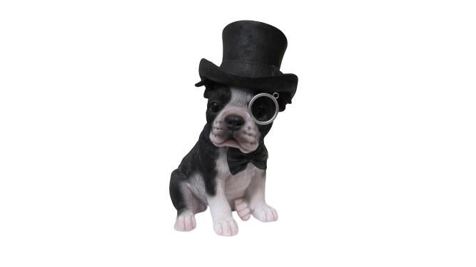 Boston Terrier with Top Hat Statue