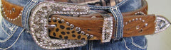 Leopard Horse Hair Belt with Bling