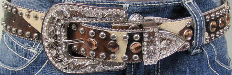Women's Brown/Tan Spur Bling Belt