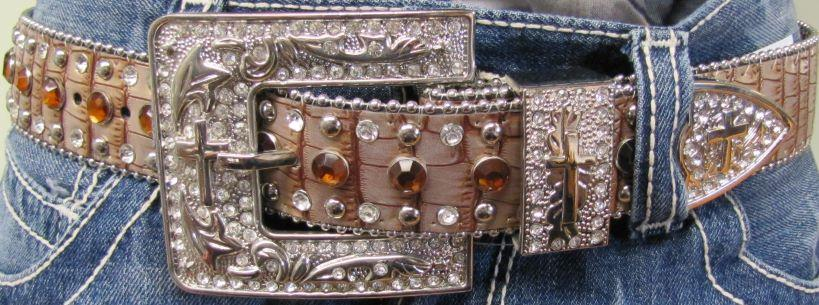 Women's Peach Bling Belt