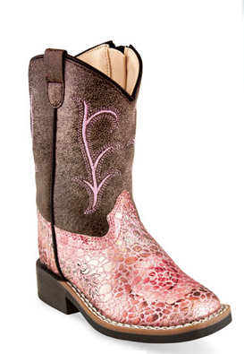 Kids Western Square toe Brown and Pink
