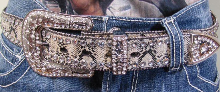 Snake Skin Belt with Western Star Bling
