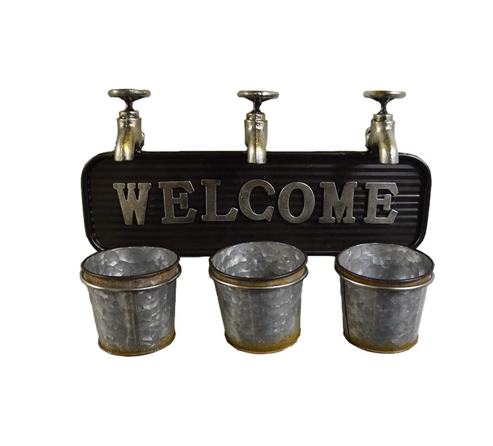 Rustic Taps & Pails Welcome Planter