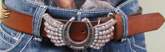 Women's Western Horseshoe belt with Wings