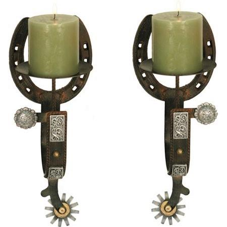 Cast Iron Spur Candle Holder Set