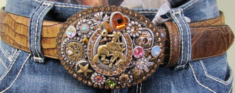 Women's Brown Crocodile Belt with Bling Belt Buckle