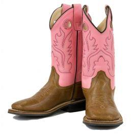 Old West Cowgirl Boots in Pink - Youth Size 6.5