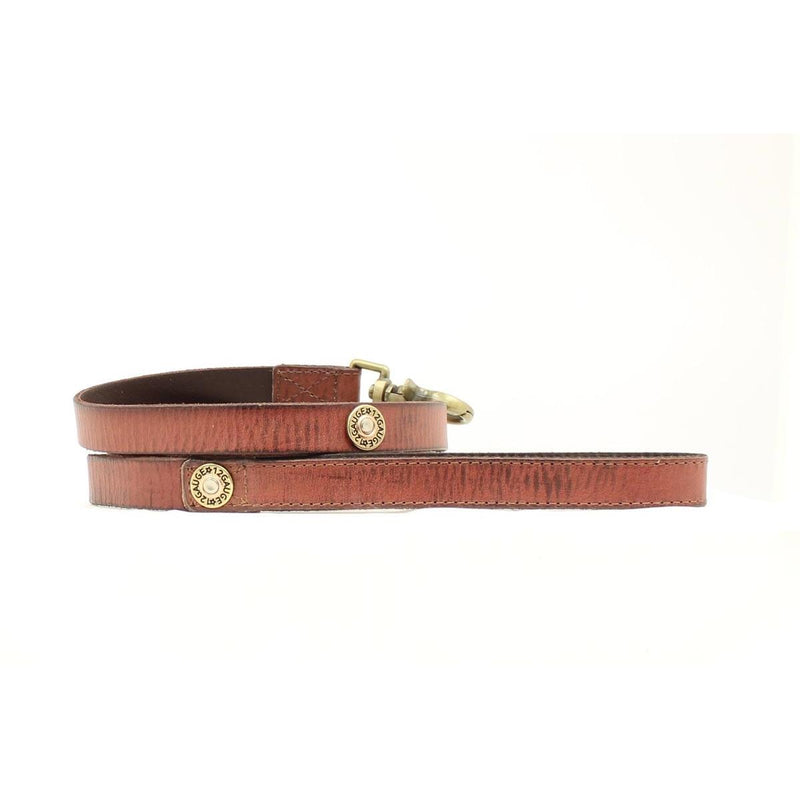 DBL Barrel Brown Leather with 12 Gauge Conchos Leash