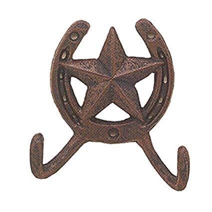Western Moments Cast Iron Horseshoe And Texas Star Coat Hook
