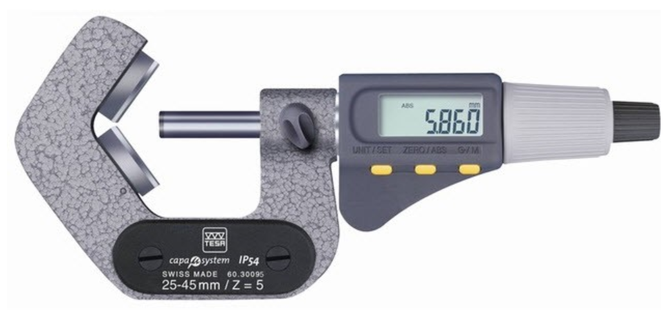 TESA 06030096 Micromaster IP54 Five Flute 45-65mm V Anvil Digital Micrometer