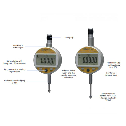 Sylvac 30-805-5506 (0-25mm) IP54 Dial Work Nano Digital Indicator