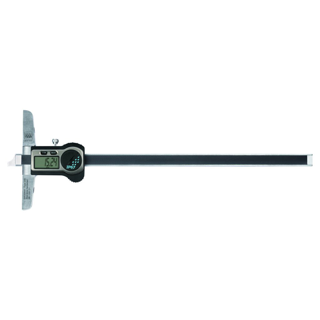 TESA 00530442 (0-250mm) TWIN-CAL IP67 Depth Caliper with Short Cut Measuring Face