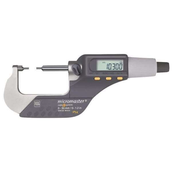 TESA 06030034 Micromaster with Small Measuring Faces IP54 0-30mm Digital Micrometer