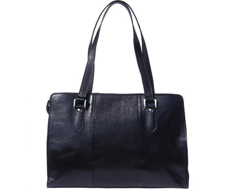 "Italian Leather Shoulder Bag with Long Straps ""Verdiana"""