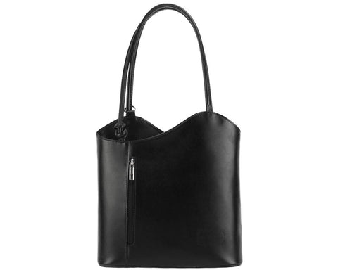 Convertible backpack shoulder bag in genuine calf leather
