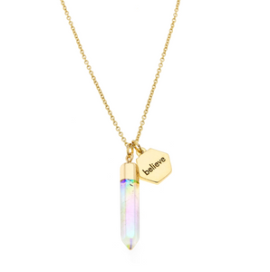 Believe Charm with Iridescent Aura Quartz Stones in Gold