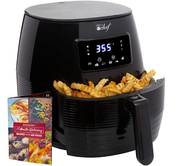 Deco Chef Air Fryer 5.8 Quart 1400W Digital LCD Touch Electric with 6 Preset Programs