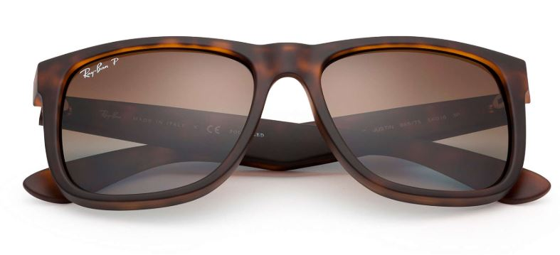 00b1335599a ... Ray-Ban Justin RB4165 865-T5 55mm Rubber Brown Gradient-Tortoise  Polarized ...