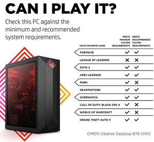HP OMEN Obelisk Desktop 875-0140 Intel Core i5-9400F 8GB RAM 512GB SSD Win10 Home NVIDIA GTX 1660 Ti (Refurbished)