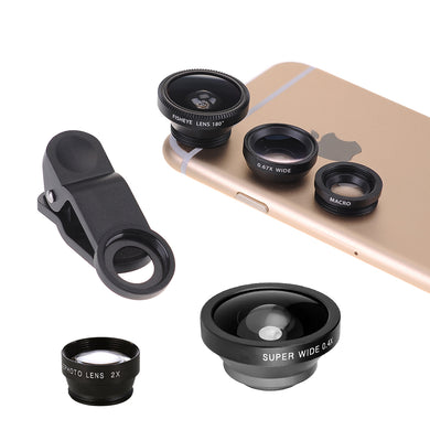 Lux Phone Camera 5 in 1 Lens Kit – Clip On Telephoto, Super Wide Angle, Wide Angle, Fisheye, Macro Lenses