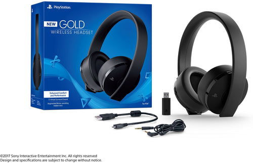 Sony PlayStation Gold Wireless Stereo Headset box and bundle