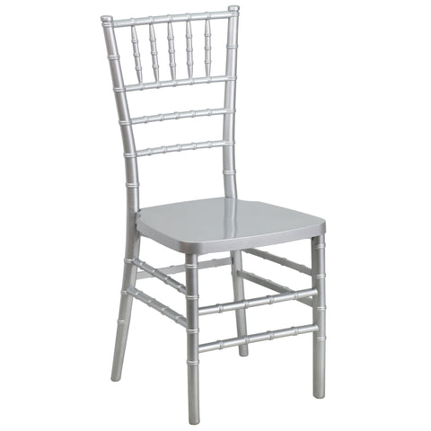 Flash Furniture LE-SILVER-GG Flash Elegance Silver Resin Stacking Chiavari Chair - FlashFurnitureStore