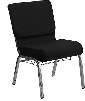 Flash Furniture XU-CH0221-BK-SV-BAS-GG HERCULES Series 21'' Extra Wide Black Church Chair with 3.75'' Thick Seat, Book Rack - Silver Vein Frame - FlashFurnitureStore